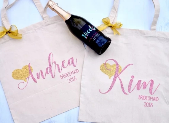 Personalize Glitter Wedding Day Bride Bridesmaid Canvas Tote Bags Bridal Shower Thank You Hen Weekend Party