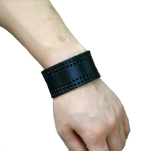 Vintage punk leather bracelet wristband for men with snap Wide ladies vintage student