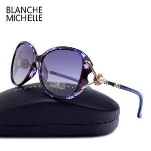 Image 1 - Blanche Michelle 2019 High Quality Polarized Sunglasses Women Brand Designer UV400 Gradient Sun Glasses Pearl oculos With Box