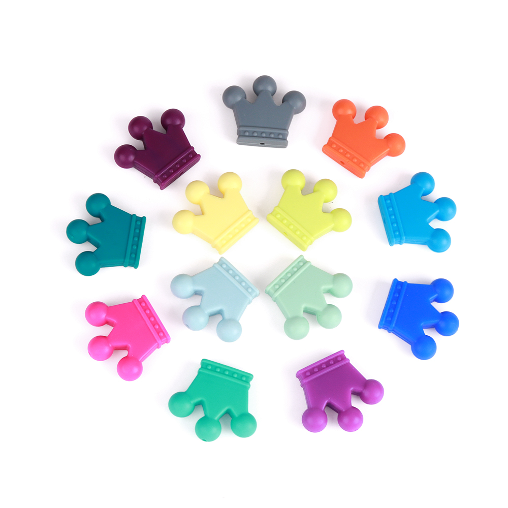 TYRY HU Wholesale 100PC Silicone Beads Crown For Jewelry Making No BPA Baby Teether Pendant Accessory
