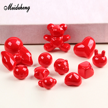 Acrylic China Red Beads Bright Smooth Surface Half Hole Lovely Handmade Hair Rope Materials For Jewelry Making Design