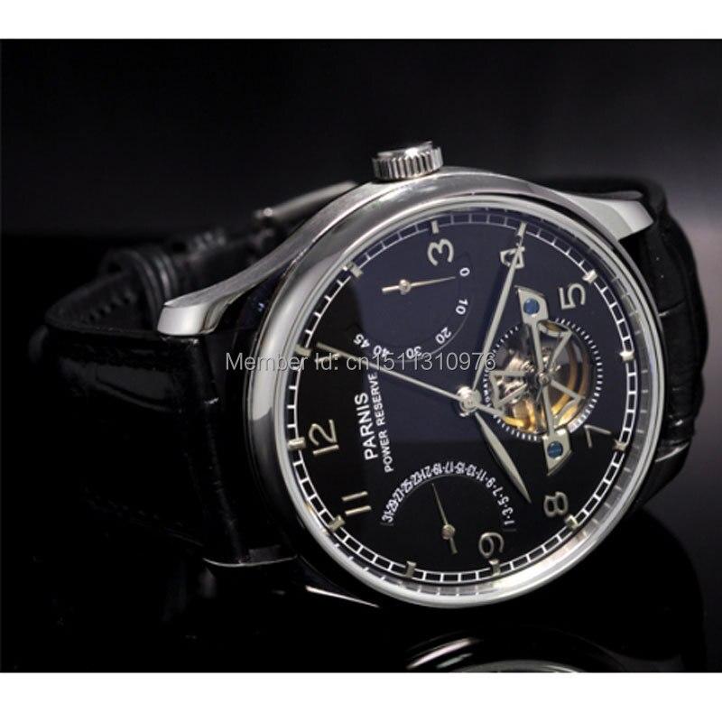 parnis black dial power reserve ST movement date automatic mens watch 20AU st 2533 gmt date power reserve automatic mechanical movement m9