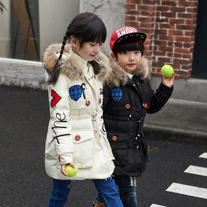 Fashion Kids Winter Down Coat With Fur Collar 4 Colors Solid Thick Long Hooded Jacket for