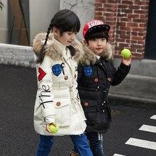 Мода Дети Зимой Вниз Пальто С Меховым Воротником 4 Цвета Твердых толстые Длинные Капюшоном Куртки для Девочек Мальчики Snowsuit 4-12 лет