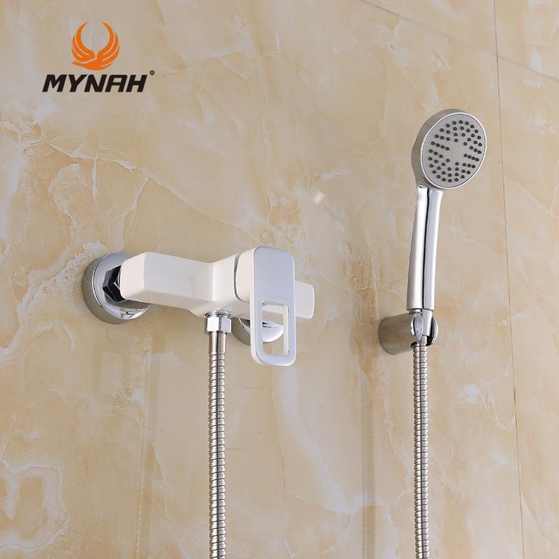 MYNAH Russia Free Shipping Bathroom Shower Faucets White bathtub water valve Wall Mounted Waterfall Bathtub Faucet M2049J