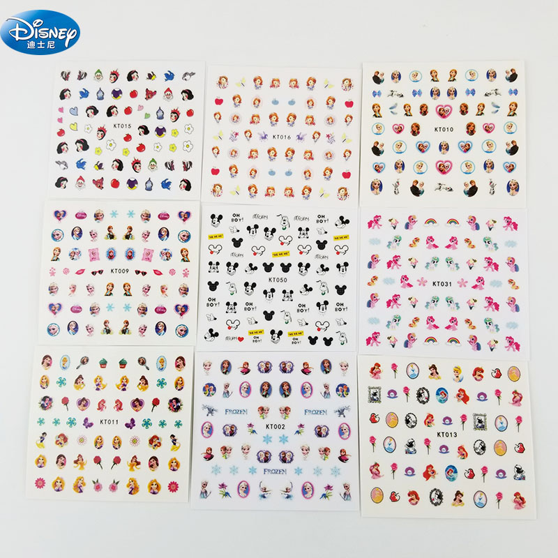 dessin-anime-mickey-minnie-ongles-autocollants-jouet-disney-congele-elsa-princesse-filles-neige-autocollant-maquillage-jouet-art-decorations-filles-cadeau