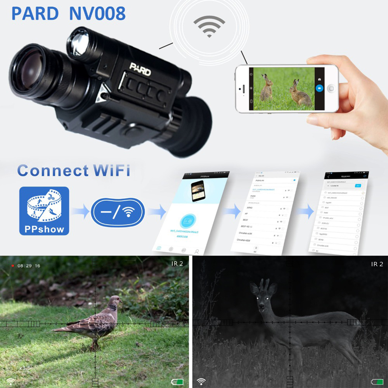 PARD NV008 Digital Night Vision Scope 200m CCD Monocular Hunting Camera Hunting Night Vision Rifle Scope 850nm IR Infrared Scope