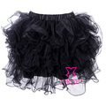 Fancy Dance Stage Wear Adult Black Organza Net Ruffles Layered Sexy Corset Skirt Women Gothic Plus Size Short Mini Tutu Skirts