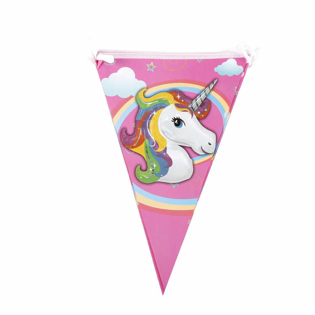 10ชิ้น/เซ็ตธงแขวนแบนเนอร์และกระดาษพวงมาลัยสำหรับเด็กวันเกิดซัพพลายเออร์ตกแต่งยูนิคอร์นธงปาร์ตี้วันเกิด27.5*18 CM
