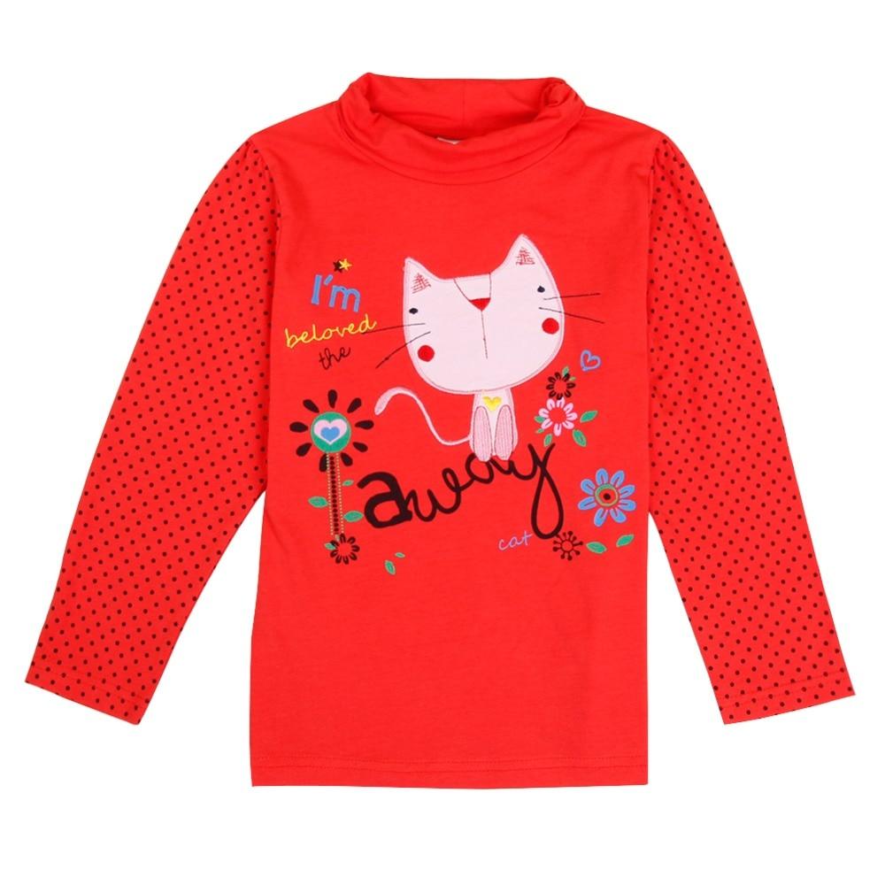 2016 Baby Clothes Girl T shirt Long Sleeve Cartoon Cat T