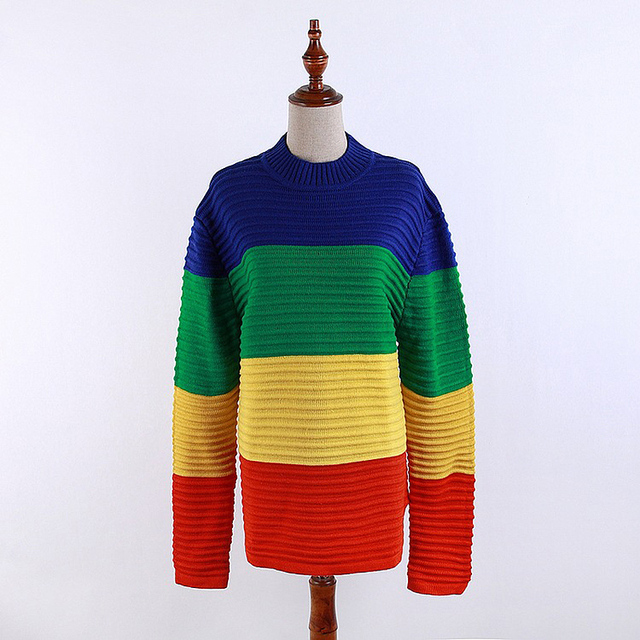 Autumn Winter Women Pullovers Sweater Unif Crayola Long Sleevel Sweaters Rainbow Color Block Knitted Loose Oversized Sweater