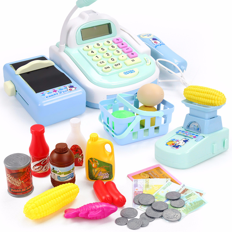 Kids Supermarket Cash Register Electronic Toys with Foods Basket Money Children Learning Education Pretend Play Set ( Gift Box ) Lahore