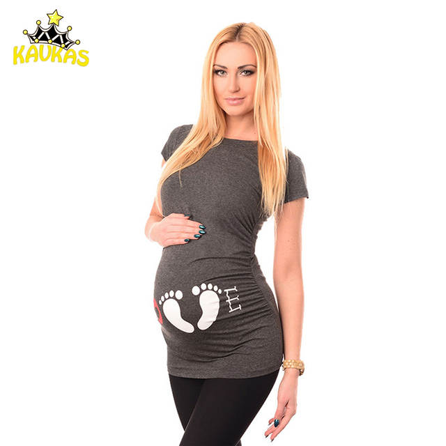b15e3a243c8df placeholder KAVKAS Maternity T-shirt Maternity Clothing Breastfeeding  Clothes Footprint Pregnant Clothes Cotton Pregnancy Women Summer