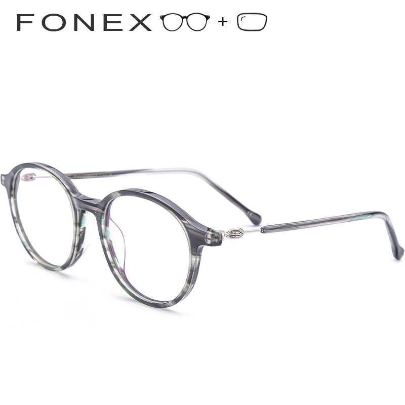 16b04e71d40 Acetate Men Prescription Glasses Women Vintage Round High Quality Korean  Screwless Eyewear Eyeglasses Retro Myopia Optical