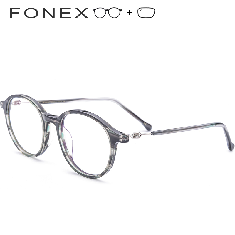 fce71f44d7d Acetate Men Prescription Glasses Women Vintage Round High Quality Korean  Screwless Eyewear Eyeglasses Retro Myopia Optical Frame
