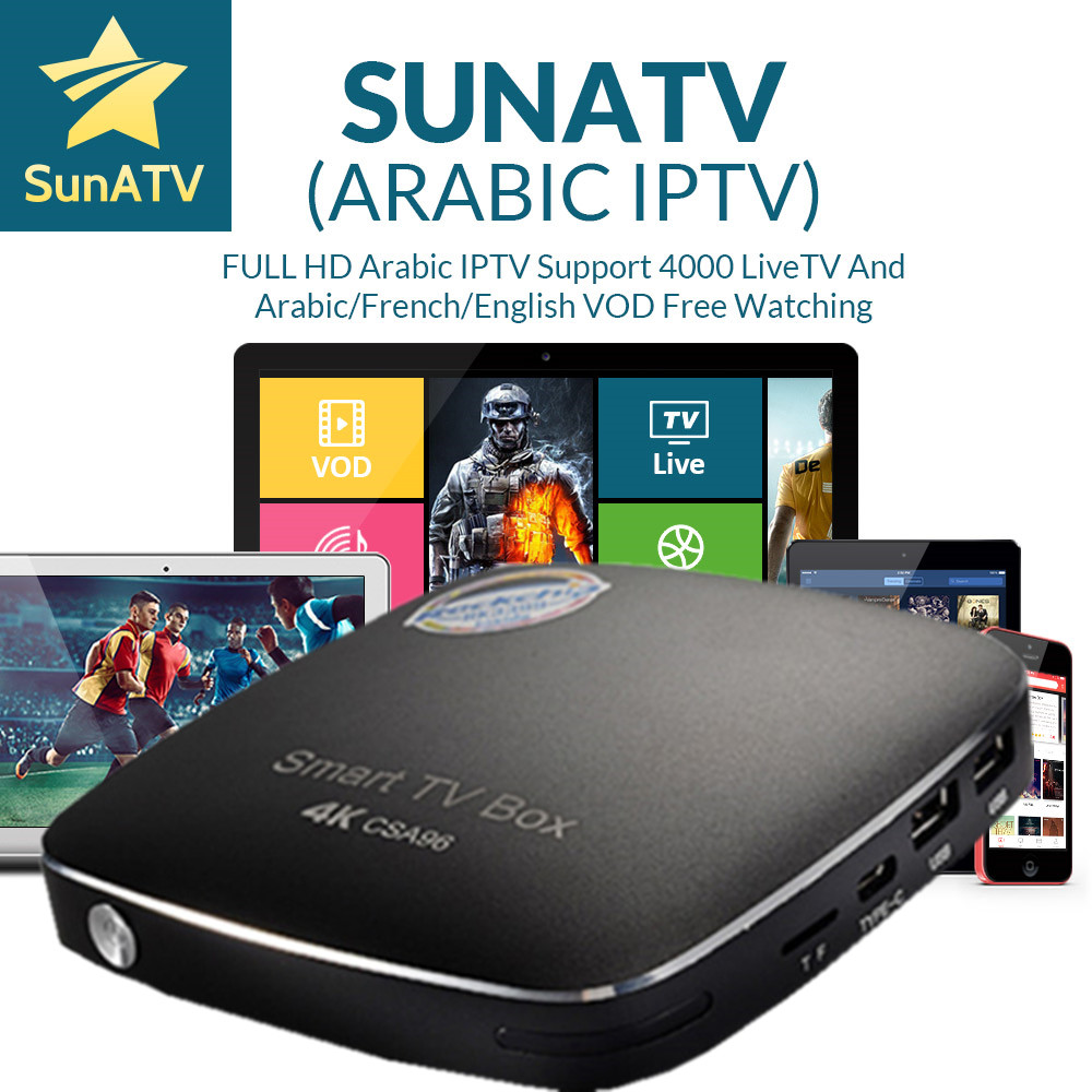 1 год SUNATV CSA96 IPTV Box Android 7,0 4 г/32 г арабский/французский/Английский VOD Нидерланды/Индия/португальское IPTV 4000 + каналы