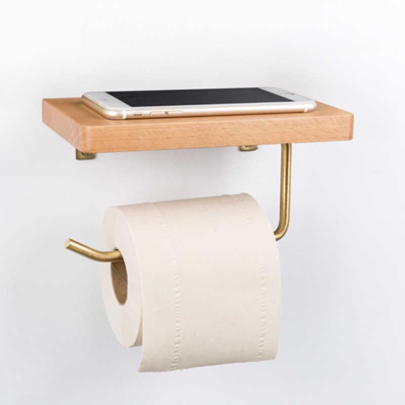 Roll Holder Wood Towel Rack Tissue Box Toilet Paper Holder Toilet Paper Holder Shelf Storage Rack Bathroom Supplies