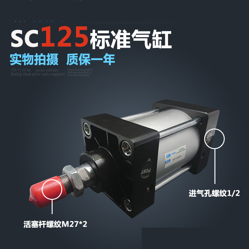 SC125*125 Standard air cylinders valve 125mm bore 125mm stroke single rod double acting pneumatic cylinder tn16 125 twin rod air cylinders dual rod pneumatic cylinder 16mm diameter 125mm stroke