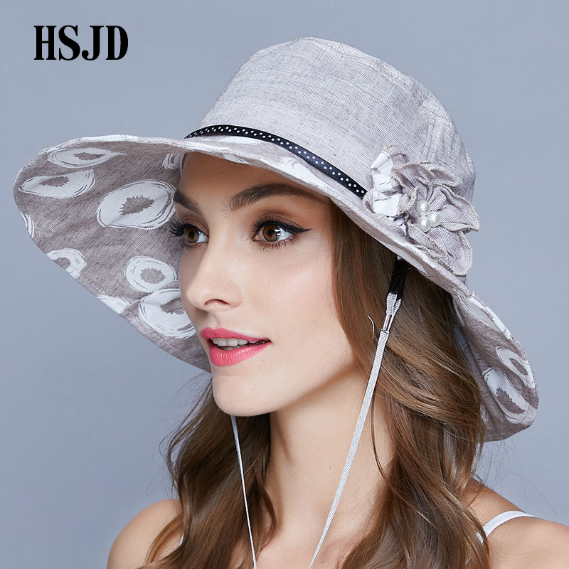 2018 New Summer White Circle Print Cot Wide Brim Foldable Sun Hats ... 34b36ece6485