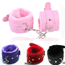 1 Pair of Sex Handcuffs PU Leather Restraints Bondage Cuffs Adult Game Tools Sex toys for Couples 4 Colors 2019 genuine leather handcuffs poetical leather bondage restraint wrist cuffs adult sex toys for couples sex game restraints