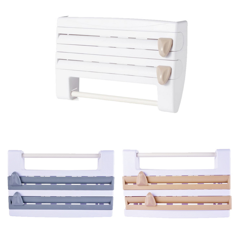 Mulifunction Kitchen Cling Film Sauce Bottle Storage Rack Wall Roll Paper Towel Hanging Holder Rack Paper Aluminium Foil Hook OK