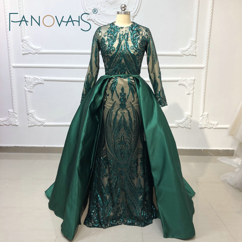Green Muslin   Evening     Dresses   with Detachble Train Sequin Mermaid   Evening   Gowns Long Sleeves Prom   Dresses   2019 Formal   Dress   Women