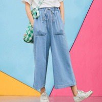 Kpop Oversize Jeans Woman Autumn Wide Leg Long Ankle Pants Female Denim Trousers Pockets Elastic Waist