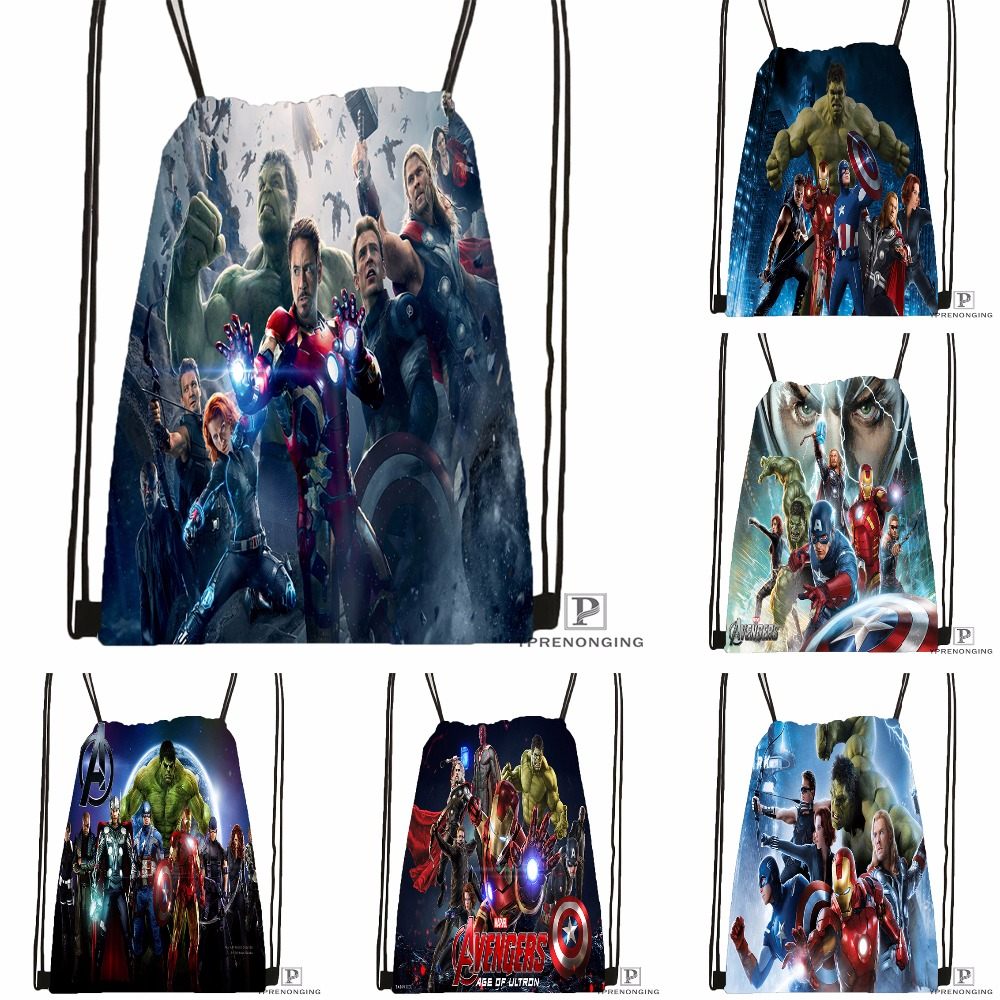 Custom Spiderman Avengers Drawstring Backpack Bag Cute Daypack Kids Satchel (Black Back) 31x40cm#180531-04-06