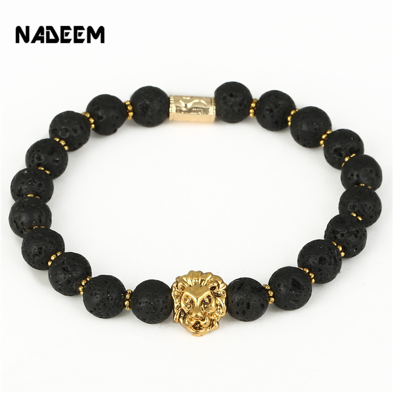 Wholesale Hot Sale Men Yoga Jewelry Fashion 8mm Lava Stone Antique Gold Lion Head Charm Elastic
