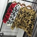 Осень зима женская мода O шея свободные трикотажные рубашки Леопардовым принтом женский все-матч Свитер топы MS-85-47