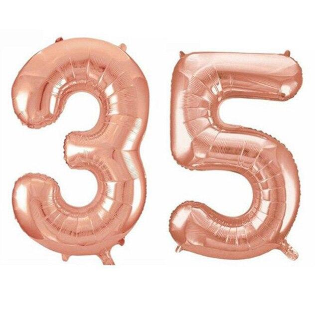 32 Zoll Rose Gold Glucklich 35th Hochzeitstag Geburtstag Party Dekoration Folie Metallic Nummer 35 Schwarz Ballon