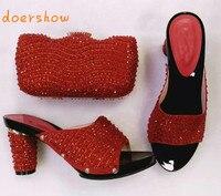 Doershow Mode Afrikaanse schoen en tas set voor party Italiaanse schoen met bijpassende tas nieuwe ontwerp lady bijpassende schoen en tas HHY1-26