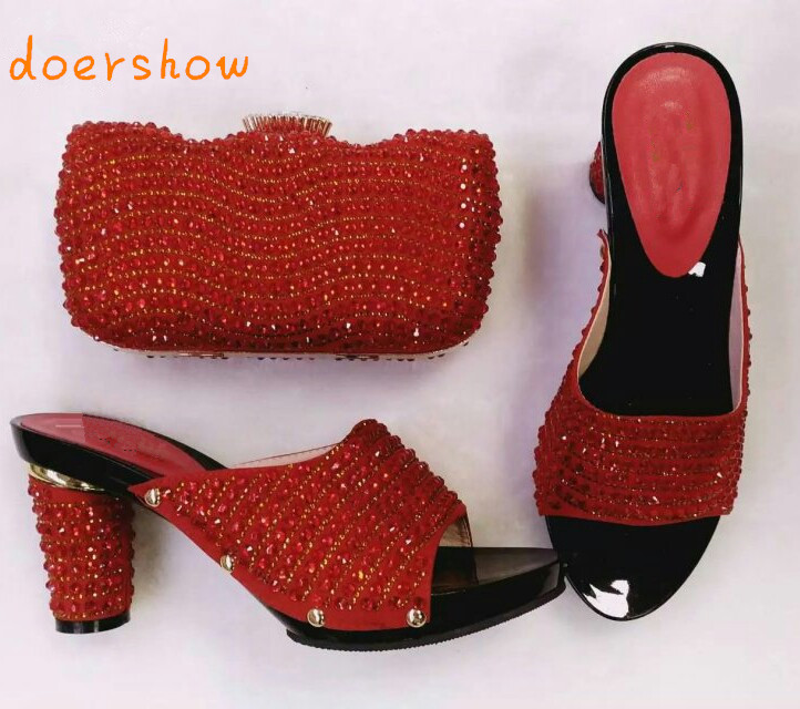 doershow Fashion African shoe and bag set for party Italian shoe with matching bag new design lady matching shoe and bag HHY1-26 doershow italian shoe with matching bag fashion lattice pattern italy shoe and bag to match african women shoes party hjj1 34