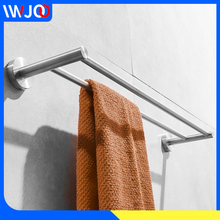 цена на Towel Bar Brushed Stainless Steel Towel Holder Wall Mounted Towel Rack Hanger Holder Clothes Storage Shelf Bathroom Accessories