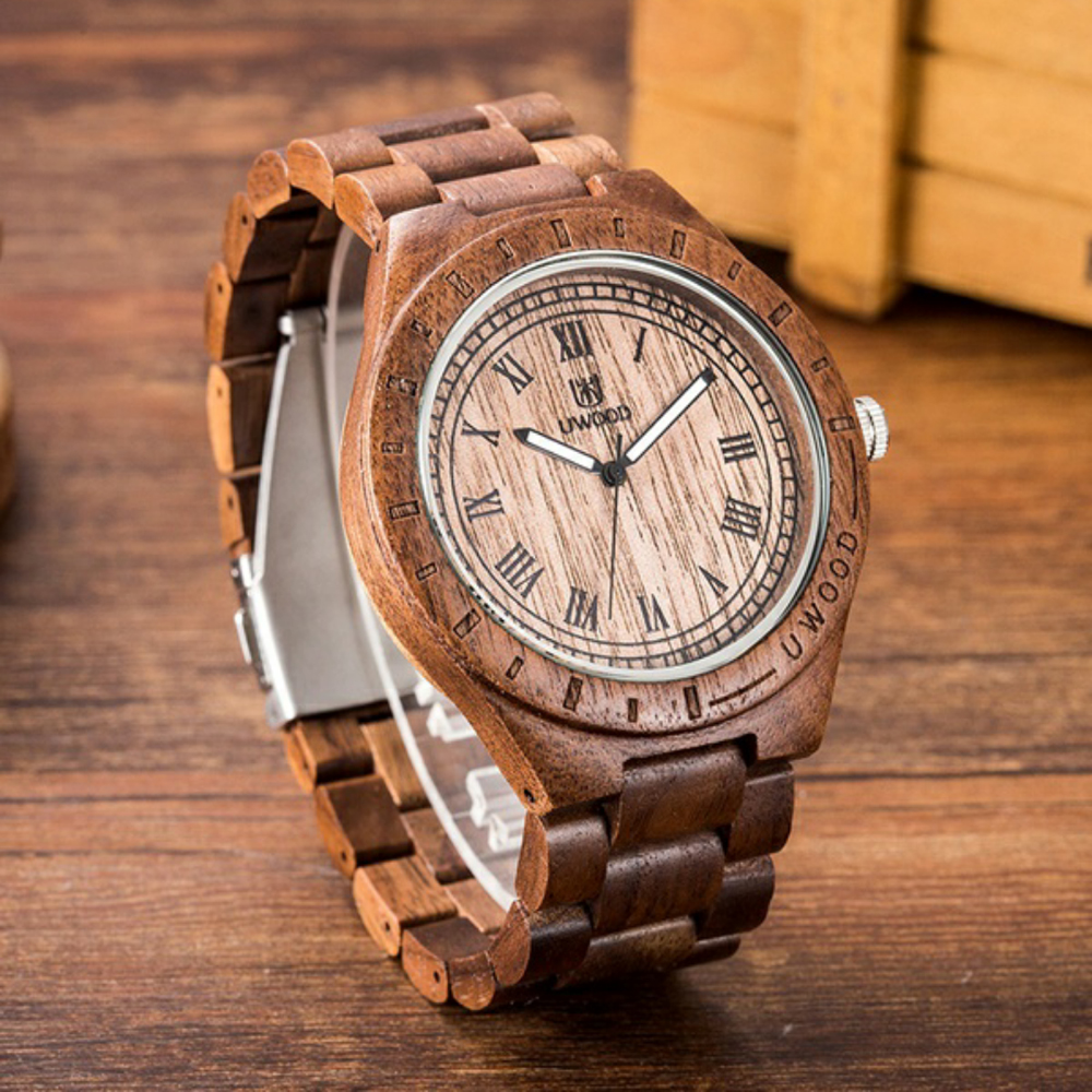 все цены на Drop Shipping Men Women Dress Watch UWood Men's Natural Wooden Wristwatch Wood Watch Quartz Casual Watch Men Relogio Masculino