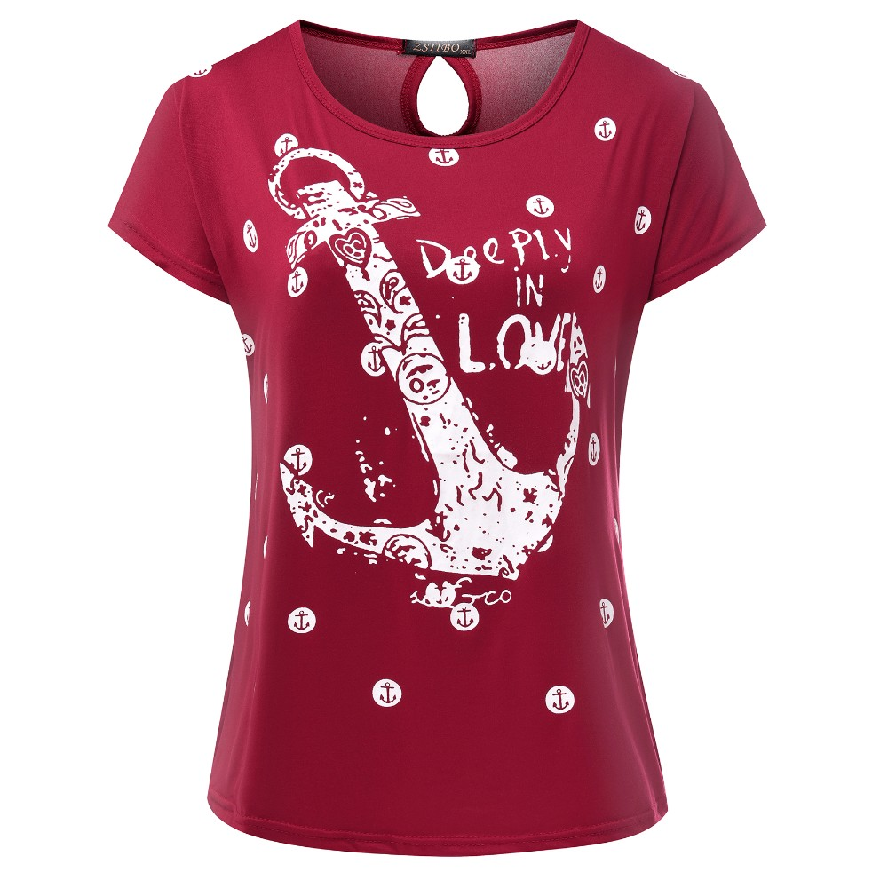 HTB1Bq2KOVXXXXXSXpXXq6xXFXXXK - Tops Tee ladies Short Sleeves t shirt women Boat anchor t-shirt
