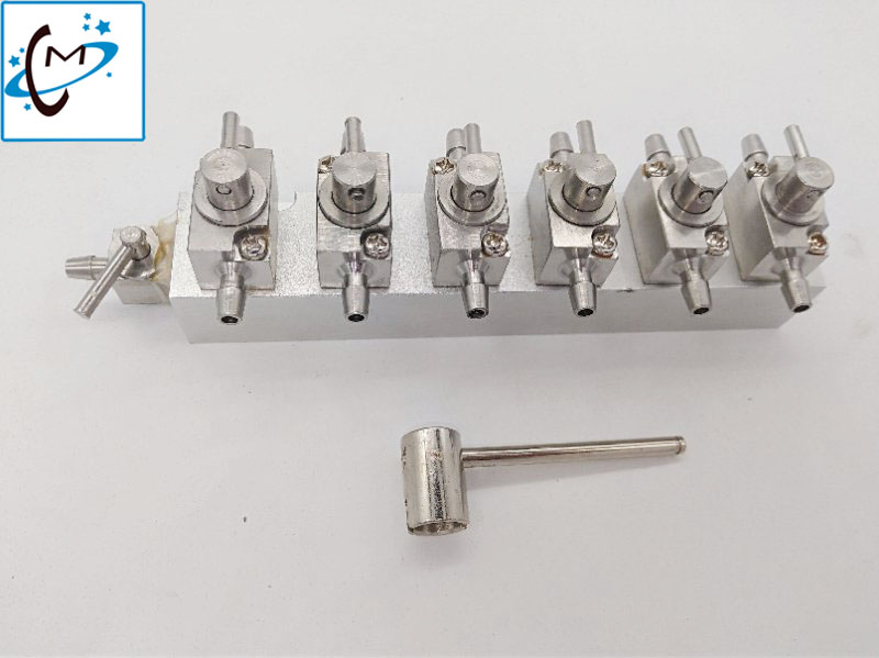 3 Ways Printhead cleaning valves 6 connector for Solvent Ink Zhongye Flora Allwin Witcolor Gongzheng Printer cleaner valve 4pcs lot original knf flora pump for flora inkjet printer pm21461 nmp830 solvent pump