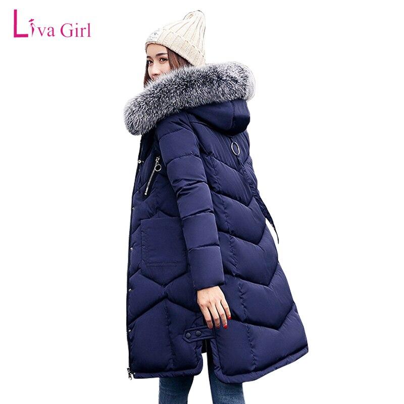 New Arrival 2017 Plus Size Women Long Warm Coat Faux Fur Hoodies Parkas Woman Wadded Down Jackets Cotton Clothing