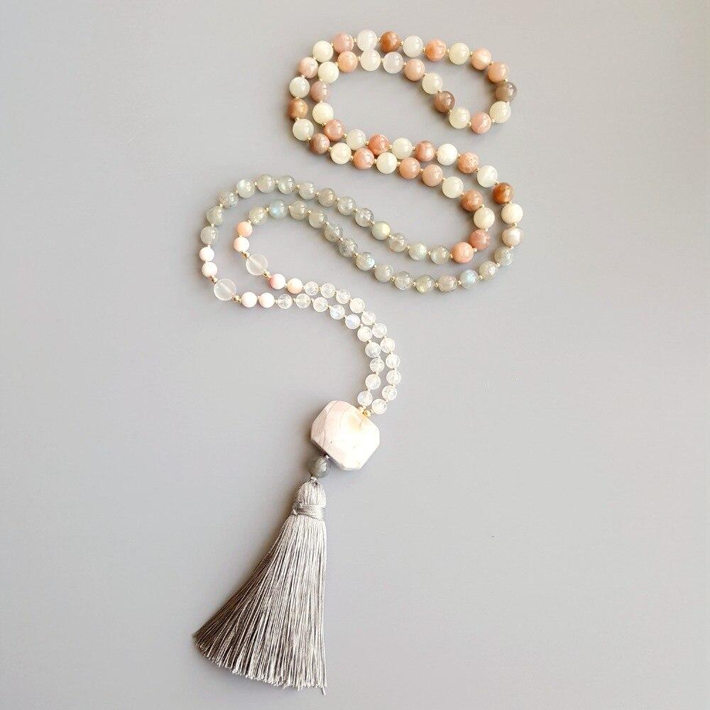 Lii Ji Nautral Moonstone Labradorite Sunstone Pink Botswana Agate Tassel Bohemia Long Handmade Necklace Necklace