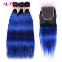Много Ombre пучки волосков с закрытием 1B/синий бразильский 100% человеческих волос не Реми ткань с бесплатной часть кружева застежка Бесплатная
