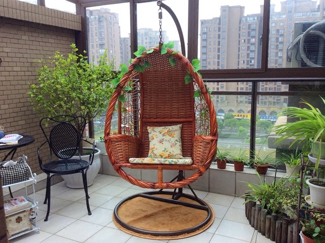 Lazy Basket Hanging Chairs Outdoor Leisure Rattan Couch Sofa Chair Recliner  Balcony Garden Swing Cradle