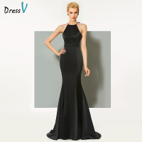 Dressv black long evening dress elegant scoop neck sweep train backless wedding party formal dress sheath evening dresses