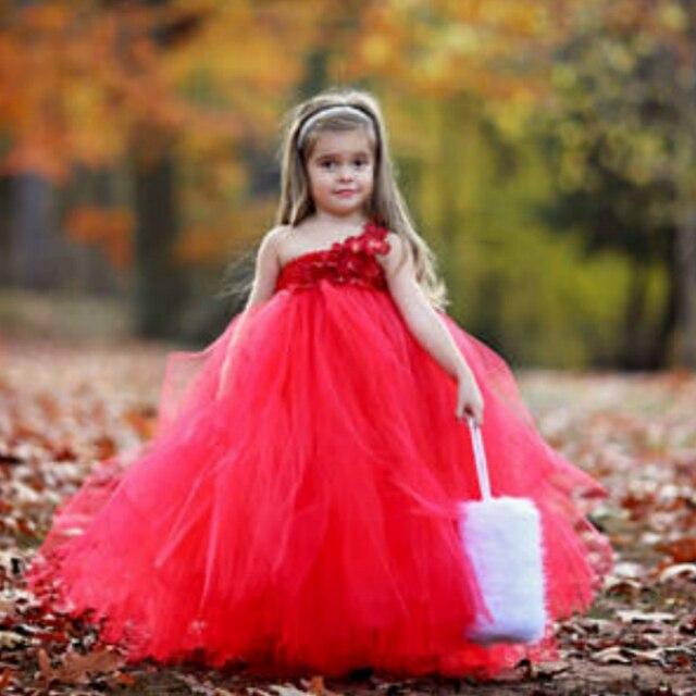 bf83b069e Petit Dream Little Flower Petals Kids Girl Dresses Red Flower Girl ...