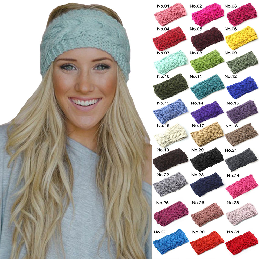 28 Colors Winter Warm Solid Knitting Headbands for Women Lady Wool Crochet Hairband   Headwear   Wide Bandana Turban Accessories