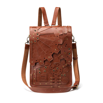 Steampunk Handbags New Steampunk Retro Gear knapsack Female Bag Shoulder Vertical Square Messenger Bag Embossing 2019