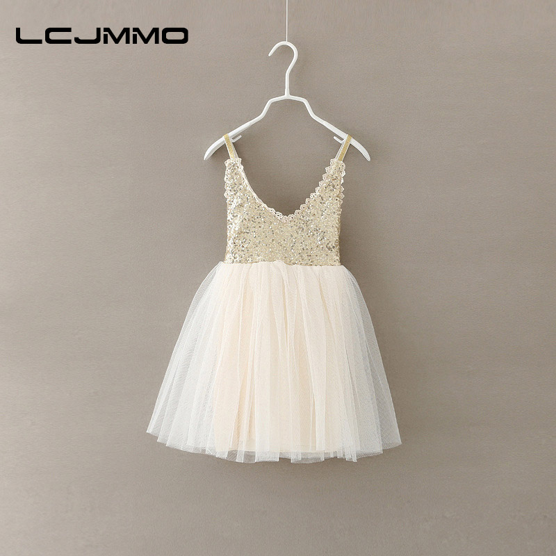 LCJMMO Girls Dress 2017 New Summer Gold Sequined Lace Sling White Tutu Dresses For Party Wedding