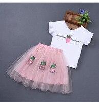 Trẻ Em mùa hè Sets Cô Gái Thời Trang Sequined Dứa Bé Cô Gái Quần Áo Bộ 2 cái Trắng T-Shirt + Tulle Váy cho 3-10 năm