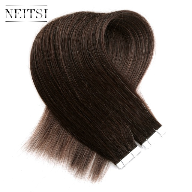 Neitsi Straight Brazilian Skin Weft Hair Machine Made Remy Tape In