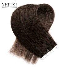 """Neitsi прямо бразильский уток кожи волосы ни Remy Ленты в Пряди человеческих волос для наращивания 16 """"1.5 г/локон 20 штук В наличии 14 цветов"""