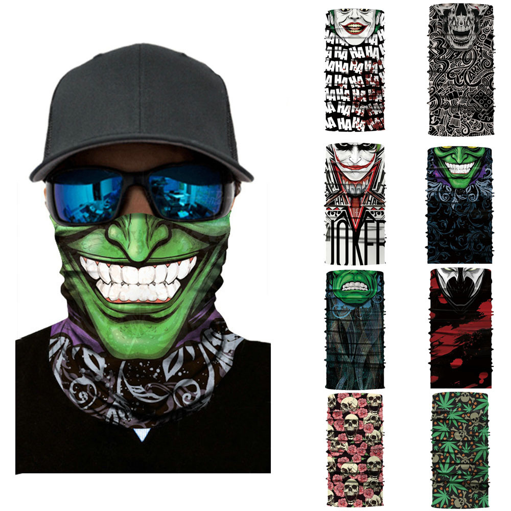 Cycling Motorcycle Head Scarf Neck Warmer Skull Face Mask Ski Balaclava Headband Mask Scary halloween Face Shield Outdoor unisex winter warm fleece full face mask head cover neck warmer scarf hat ski cycling motorcycle balaclava caps outdoor sports